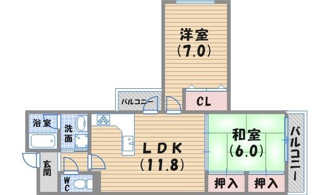 102号室 カーサ香枦園の空室 ...
